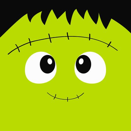 Icône de visage carré monstre Frankenstein Zombie. Joyeux Halloween. Personnage de bébé fantasmagorique drôle de dessin animé mignon. Tête verte. Carte de voeux. Design plat. Fond blanc. Illustration vectorielle