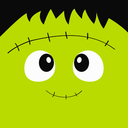 Frankenstein Zombie monster square face icon. Happy Halloween. Cute cartoon funny spooky baby character. Green head. Greeting card. Flat design. White background. Vector illustration