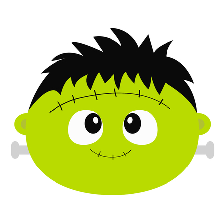 Frankenstein Zombie monster round face icon. Happy Halloween. Cute cartoon funny spooky baby character. Green head. Greeting card. Flat design. White background. Isolated. Vector illustration