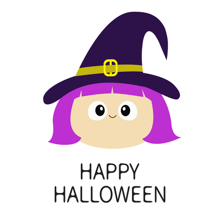 Happy Halloween. Witch girl face wearing curl hat. Cartoon funny spooky baby magic character. Cute head. Greeting card. Flat design. White background. Isolated. Vector illustration
