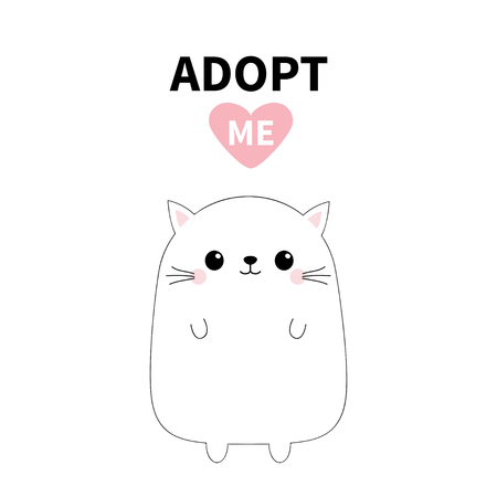 Baby cat silhouette. Adopt me. Pink heart. Pet adoption. Kawaii animal. Cute cartoon kitty character. Funny kitten. Help homeless animal Flat design. White background Vector illustration