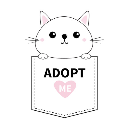 Cute cat holding pocket. Adopt me. Pink heart. Cartoon animals. Kitten kitty character. Dash line. Pet animal collection. T-shirt design. Baby background. Isolated. Flat design Vector illustration Illustration