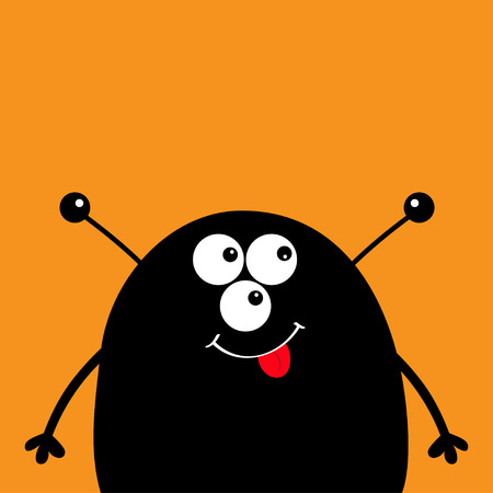 Cute black silhouette monster face icon. Happy Halloween. Cartoon colorful scary funny character. Eyes, ears antenna, mouth, tongue. Funny baby collection. Orange background Flat design Vector Illustration