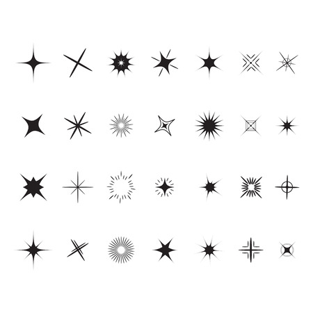 Stars Sparkles sign symbol set. Decoration element. Cute shape collection. Shining effect. Flat design. White background. Vector illustration