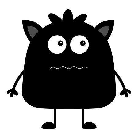 Cute black silhouette monster icon. Happy Halloween. Cartoon colorful scary funny character. Eyes, ears, mouth, hair. Funny baby collection. White background Isolated. Flat design. Vector illustration Иллюстрация