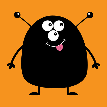 Cute black silhouette monster icon. Happy Halloween. Cartoon colorful scary funny character. Eyes, ears antenna, mouth, tongue. Funny baby collection. Orange background Flat design Vector illustration