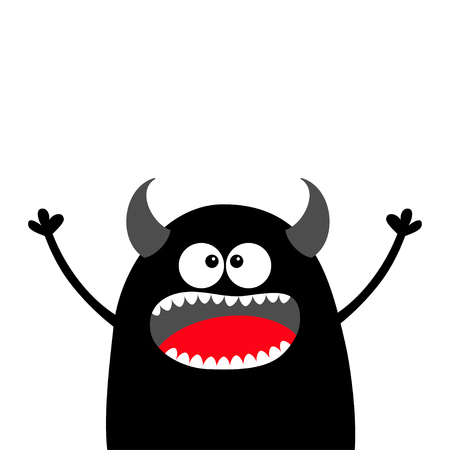 Cute black silhouette monster face. Happy Halloween. Cartoon colorful scary funny character. Eyes, tongue, horns, holding hands up. Funny baby collection. White background. Flat design. Vector Banque d'images - 109765290