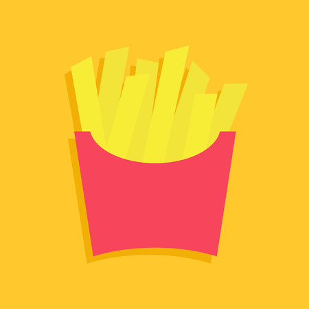 French fries potato in a paper wrapper box icon. Fried potatoes. Fast food menu. Flat design. Yellow background. Isolated. Vector illustration Çizim