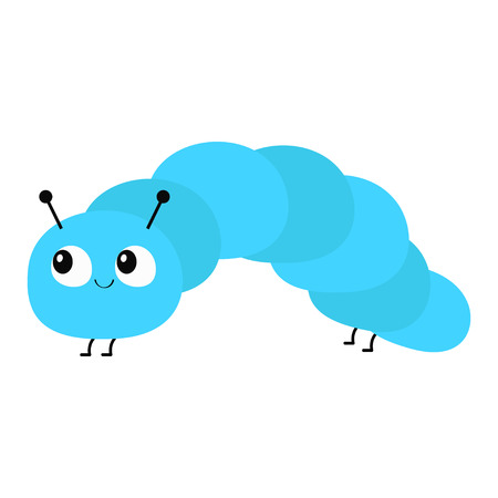Caterpillar insect icon. Baby collection. Crawling catapillar bug. Cute cartoon funny character. Smiling face. Flat design. Colorful bright blue color. White background. Isolated. Vector illustration