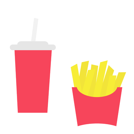 French fries potato in a paper wrapper box icon. Soda drink glass with straw. Fried potatoes. Fast food menu. Flat design. White background. Isolated. Vector illustration