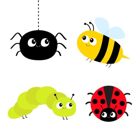 Conjunto de insectos de dibujos animados lindo. Mariquita, pájaro, abeja, oruga, araña. Línea de puntos. Fondo blanco aislado. Diseño plano. Ilustración vectorial