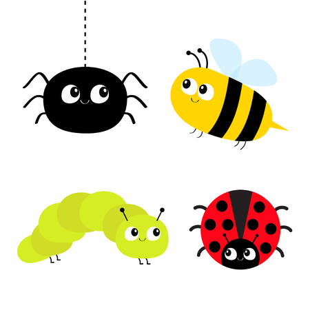 Netter Karikaturinsektensatz. Marienkäfer-Damenvogel, Honigbiene, Raupe, Spinne. Strich-Linie. Weißer Hintergrund isoliert. Flaches Design. Vektor-Illustration