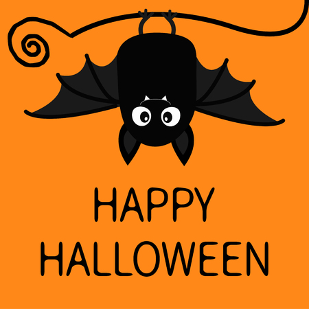 Happy Halloween. Bat hanging. Cute cartoon baby character with big open wing, ears, legs. Black silhouette. Forest animal. Flat design. Orange background. Isolated. Greeting card. Vector illustration Standard-Bild - 112305131