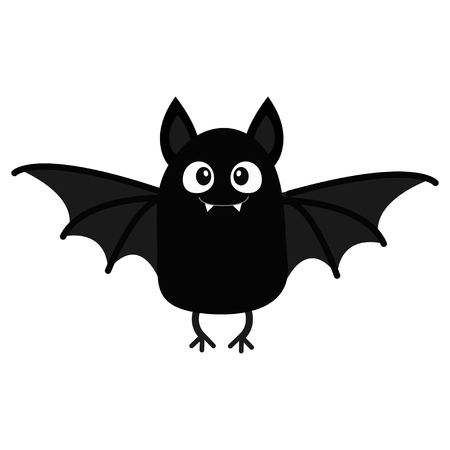 Bat vampire. Happy Halloween. Cute cartoon baby character with big open wing, ears, legs. Black silhouette. Forest animal. Flat design. White background. Isolated. Greeting card. Vector illustration Vettoriali