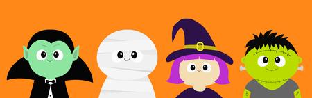 Feliz Halloween. Conde de vampiros Drácula, momia, sombrero de whitch, conjunto de iconos de cuerpo de cabeza de cara redonda de zombi. Personaje de dibujos animados lindo bebé espeluznante divertido. Tarjeta de felicitación. Diseño plano Fondo naranja. Vector