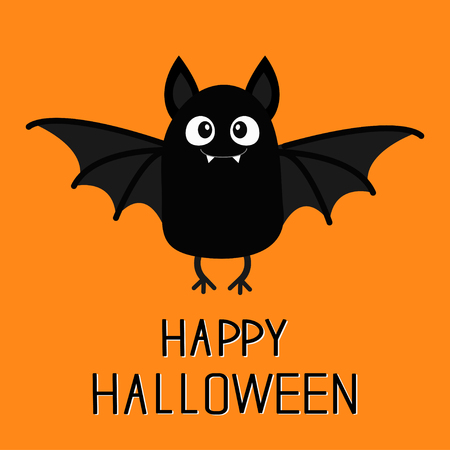 Happy Halloween. Bat vampire. Cute cartoon baby character with big open wing, ears, legs. Black silhouette. Forest animal. Flat design. Orange background. Isolated. Greeting card. Vector illustration Illustration