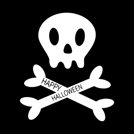 Happy Halloween. Skull with bone crosswise icon shape. White crossbones. Skeleton body part sign symbol. Cute cartoon simple character. Pirate flag element Black background Isolated Flat design Vector