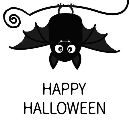 Feliz Halloween. Murciélago colgando. Personaje de dibujos animados lindo bebé con gran ala abierta, orejas, piernas. Silueta negra. Animal del bosque. Diseño plano. Fondo blanco. Aislado. Tarjeta de felicitación. Ilustración vectorial