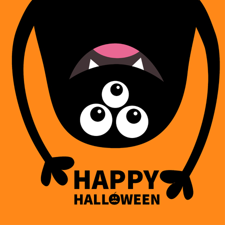 Happy Halloween card. Smiling monster head silhouette. Thtee eyes, teeth, tongue, hands. Hanging upside down. Black Funny Cute cartoon character. Baby collection. Flat design Orange background. Vector