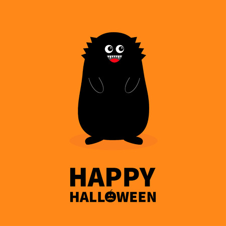 Happy Halloween. Monster black silhouette. Fang tooth. Open mouth. Two eyes, teeth, tongue hands. Funny Cute cartoon baby character. Flat design. Orange background Isolated. Vector illustration Ilustração