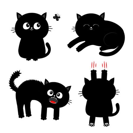 Conjunto de gato. Uña arañazo de garra, sentado, gritando, durmiendo, mirando a la mariposa. Gatito negro. Personaje divertido de dibujos animados lindo Colección de mascotas para bebés Fondo blanco Diseño plano aislado Ilustración vectorial
