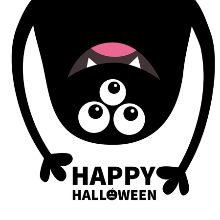 Happy Halloween card. Smiling monster head silhouette. Thtee eyes, teeth, tongue, hands. Hanging upside down. Black Funny Cute cartoon character. Baby collection. Flat design. White background. Vector