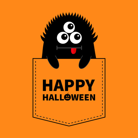 Happy Halloween. Black monster silhouette in the pocket. Holding hands. Cute cartoon scary funny character. Baby collection. T-shirt design. Eyes, tongue. Orange background. Flat design. Vector Illustration