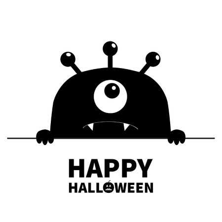 Happy Halloween. Monster scary face head icon. Hands paw holding line. One eye, fang tooth. Cute cartoon boo spooky character. Black silhouette. Kawaii funny baby. Flat design. White background Vector Illustration