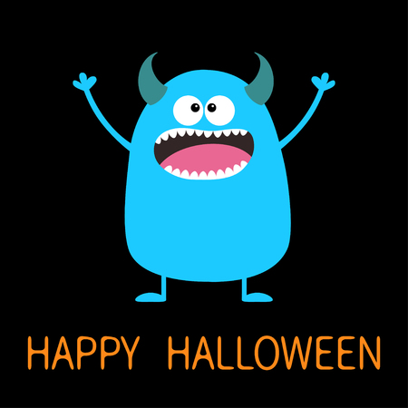 Happy Halloween. Cute blue monster icon. Cartoon colorful scary funny character. Eyes, tongue, horns, holding hands up. Funny baby collection Black background Isolated Flat design Vector illustration