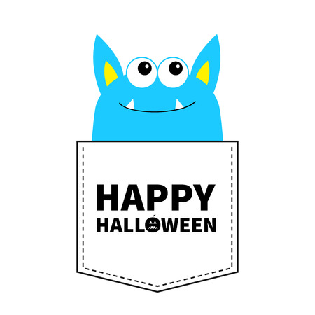 Happy Halloween. Blue monster silhouette in the pocket looking up. Cute cartoon scary funny baby character. T-shirt design. Eyes, fang tooth, ears. White background. Flat design. Vector illustration