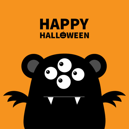 Happy Halloween. Cute black silhouette monster face icon. Cartoon colorful scary funny character. Eyes, ears, wings. Funny baby collection. Orange background. Flat design. Vector illustration