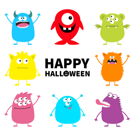 Happy Halloween. Cute monster icon set. Cartoon colorful scary funny character. Eyes, tongue, hands up. Funny baby collection. White background Isolated. Flat design. Vector illustration