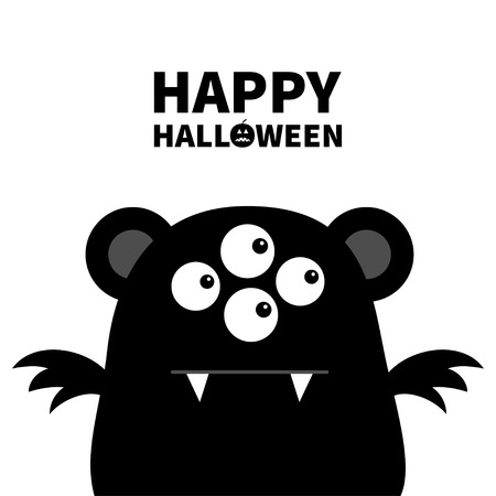 Happy Halloween. Cute black silhouette monster face icon. Cartoon colorful scary funny character. Eyes, ears, wings. Funny baby collection. White background. Flat design. Vector illustration