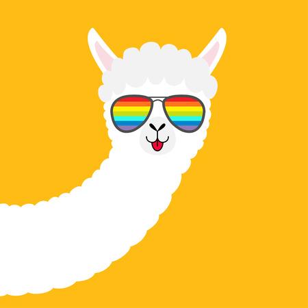 Alpaca llama animal face in rainbow glassess. Cute cartoon funny kawaii character. Fluffy hair fur. T-shirt, greeting card, poster print. Childish baby collection. Flat design Yellow background Vector Illustration