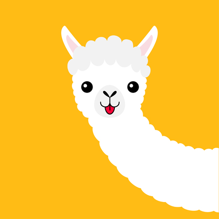 Llama alpaca animal face neck. Cute cartoon funny kawaii character. Fluffy hair fur. T-shirt, greeting card, poster template print. Childish baby collection. Flat design. Yellow background. Vector