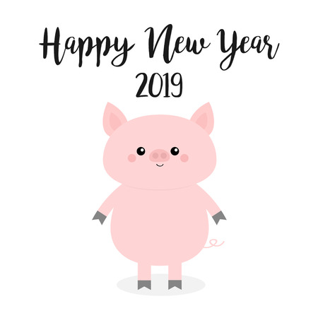 Happy New Year. Pink pig. Piggy piglet. Chinise symbol of 2019. Cute cartoon funny kawaii baby character. Flat design. White background. Isolated. Vector illustration
