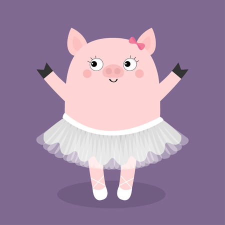Pig bellerina. Piggy piglet ballet dancer dressed in white skirt. Tutu dress, pointe. Cute cartoon funny baby kids character. Hog swine sow animal. Smiling face. Flat design. Violet background. Vector 矢量图像