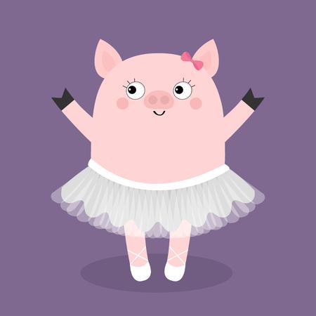 Varken bellerina. Piggy Knorretje balletdanser gekleed in witte rok. Tutu jurk, spitzen. Schattige cartoon grappige baby kids karakter. Varkensvarken zeug dier. Lachend gezicht. Plat ontwerp. Violette achtergrond. Vector