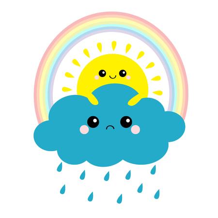 Sol sosteniendo nubes, arco iris. Sonriente cara triste. Tiempo de gota de lluvia. Amigos para siempre. Nubes esponjosas. Cloudscape de dibujos animados lindo. Símbolos de signo de tiempo nublado. Diseño plano Fondo blanco aislado. Vector