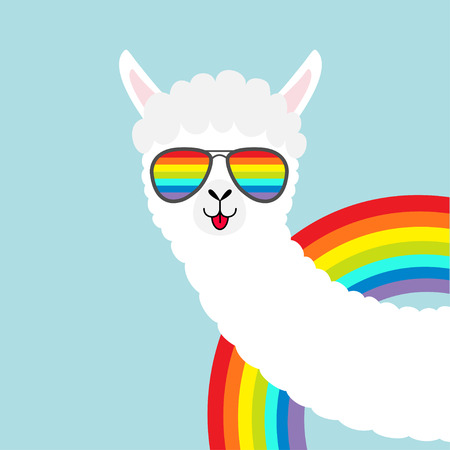 Llama alpaca animal face in rainbow glassess. Fluffy hair fur. Cute cartoon funny kawaii character. T-shirt, greeting card, poster print. Gay symbol collection. Flat design. Blue background. Vector Illustration