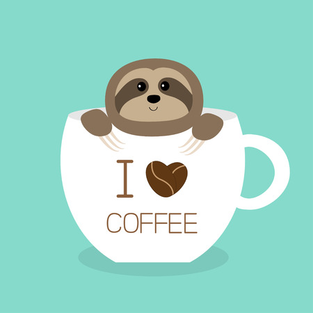 Sloth sitting in teacup. I love coffee cup. Face and hands. Cute cartoon character. Wild jungle animal collection. Slow down. Baby education. Isolated. Blue background. Flat design Vector illustration
