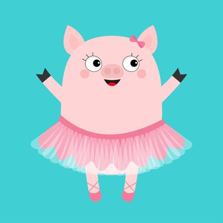 Pig bellerina. Piggy piglet ballet dancer dressed in pink skirt. Tutu dress, pointe. Cute cartoon funny kids baby character. Hog swine sow animal. Smiling face. Flat design. Blue background. Vector