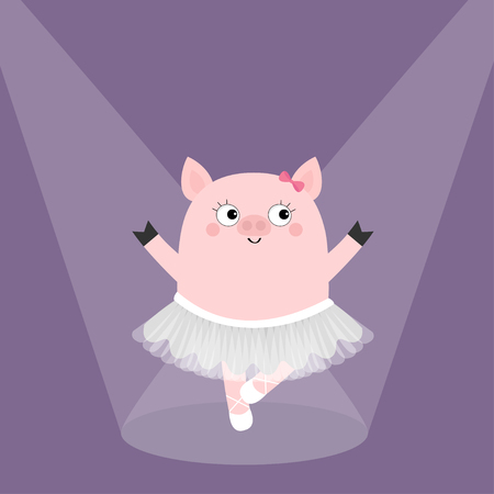 Pig bellerina dancing illuminated by spotlights. Piggy piglet ballet dancer dressed in white skirt. Pointe, tutu dress. Cute cartoon funny kids character. Hog swine sow. Flat Violet background. Vector