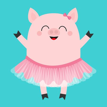 Pig bellerina. Piglet piggy ballet dancer dressed in pink skirt. Cute cartoon funny baby kids character. Tutu dress. Smiling face. Hog swine sow animal. Flat design. Blue background. Vector