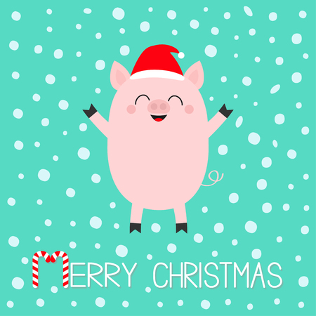 Merry Christmas. Pig piglet. Cute cartoon funny baby character. Hog swine sow animal. Santa hat. Chinise symbol of 2019 new year. Zodiac sign. Flat design. White background. Snow flake. Vector