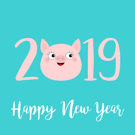 Happy New Year 2019 pink text. Cute pig face head. Piggy piglet. Chinise symbol. Cartoon funny kawaii smiling baby character. Flat design. Blue background. Isolated. Vector illustration Illustration