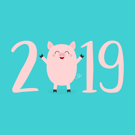 2019 pink text. Cute baby pig. Piggy piglet. Happy New Year Chinise symbol. Cartoon funny kawaii smiling character. Flat design. Blue background. Isolated. Vector illustration