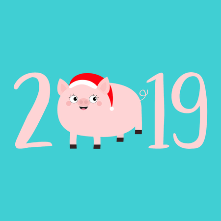 2019 pink text. Cute fat pig in santa hat. Piggy piglet. Happy New Year Chinise symbol. Cartoon funny kawaii smiling baby character. Flat design. Blue background. Isolated. Vector illustration
