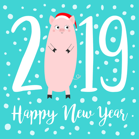 Happy New Year 2019 text. Cute fat pig. Santa hat. Pink piggy piglet. Snow flake. Chinise symbol. Cartoon funny kawaii smiling baby character. Flat design. Isolated Blue background Vector illustration