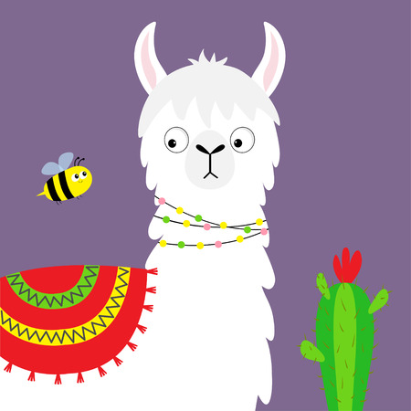 Llama alpaca face, bee, cactus. Childish baby collection. Cute cartoon funny kawaii character. Fluffy hair fur. T-shirt, greeting card, poster template print. Flat design. Violet background. Vector